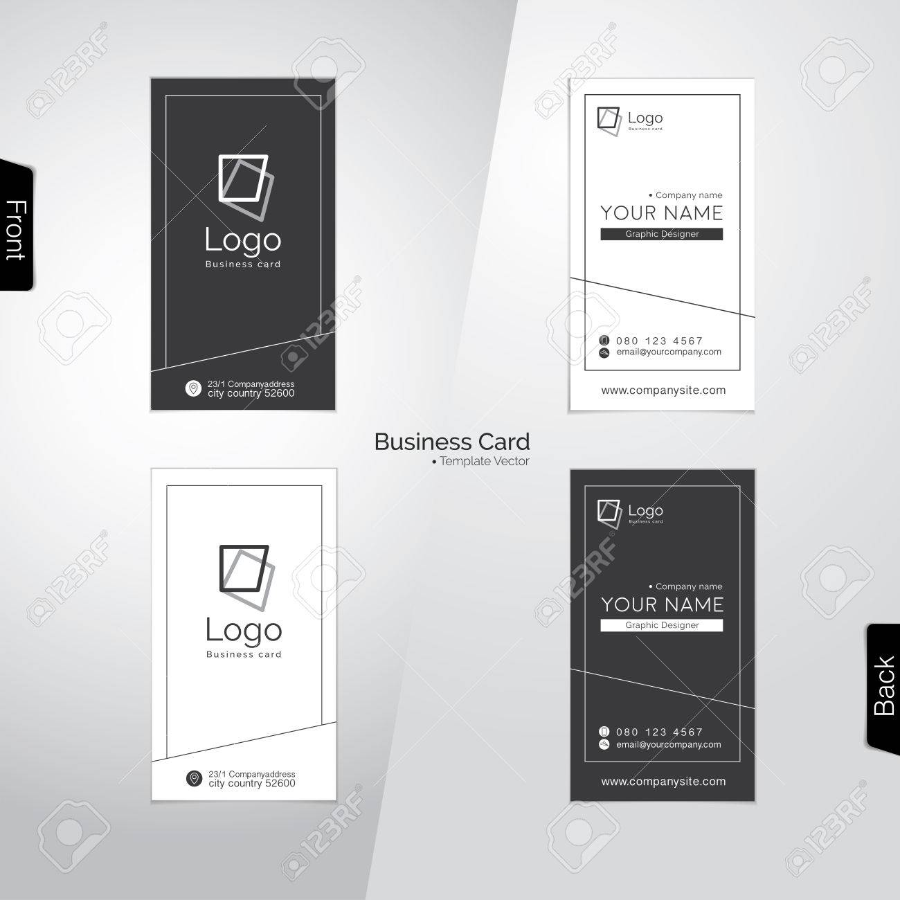 Modern Gray And White Vertical Business Card Templates Stock Vector