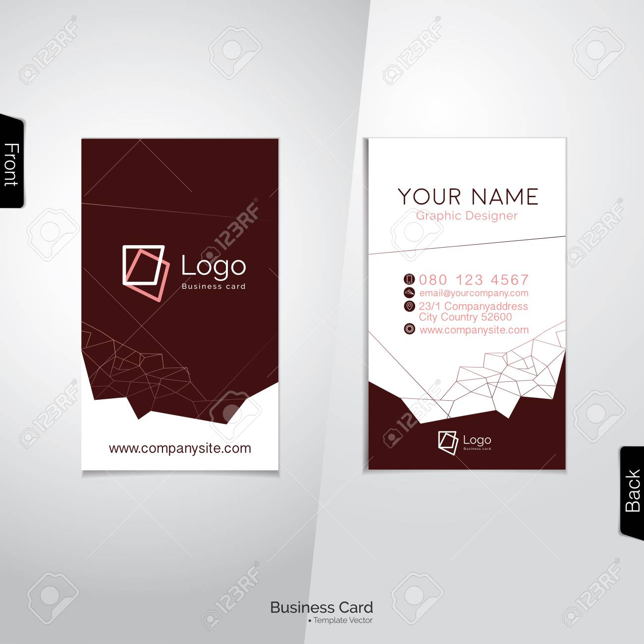 Modern white and dark brown vertical business card with abstract modern white and dark brown vertical business card with abstract polygon outline template stock vector colourmoves