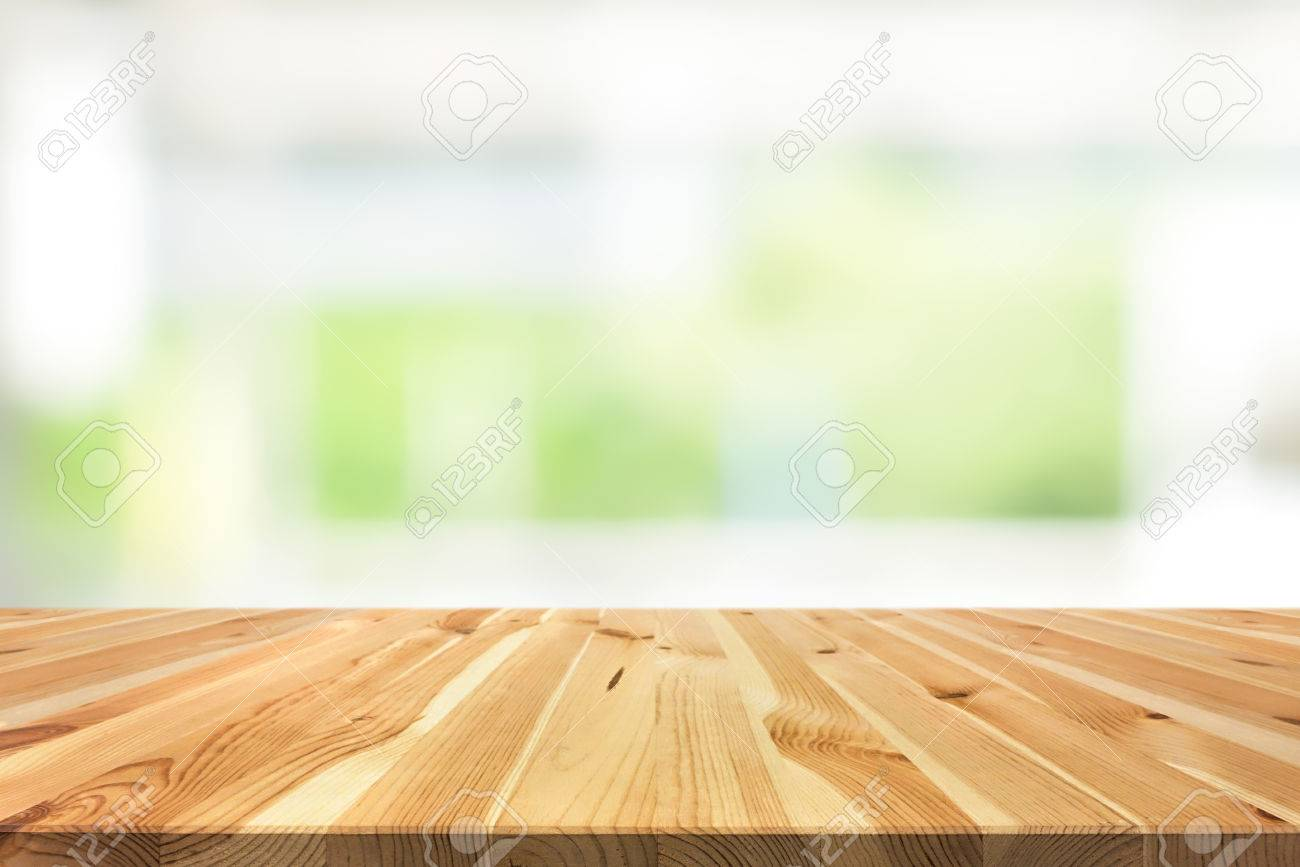 Wood Table Top On Blur White Green Background From Kitchen Window Stock Photo Picture And Royalty Free Image Image 65692159