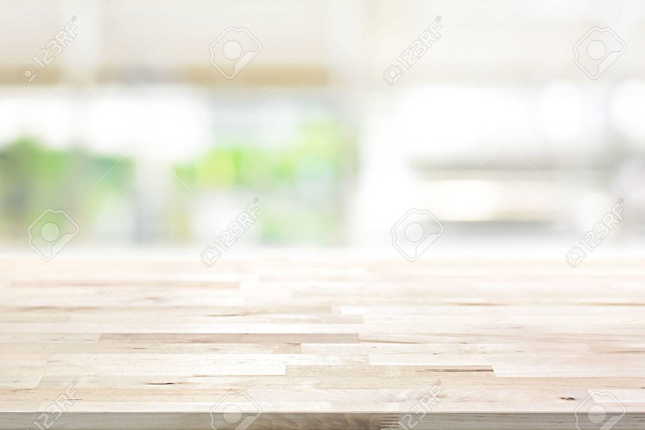 Kitchen Table Top Background wood table top on blur kitchen window background - can be used