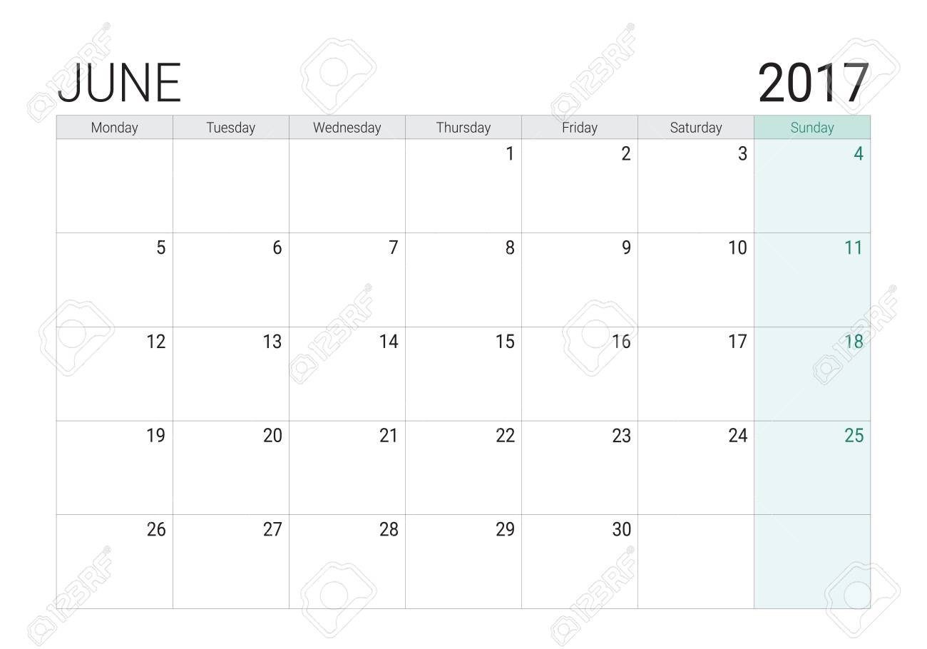 2017 June Calendar Or Desk Planner Week Start On Monday Royalty