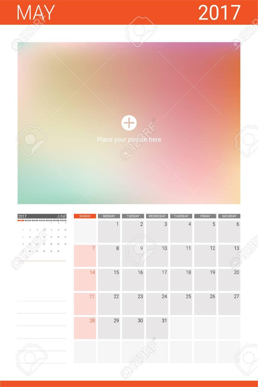 Calendario Para Escribir.Calendario De Mayo De 2017 Con Espacio Para Imagenes Y Lineas En Blanco Para Escribir Notas
