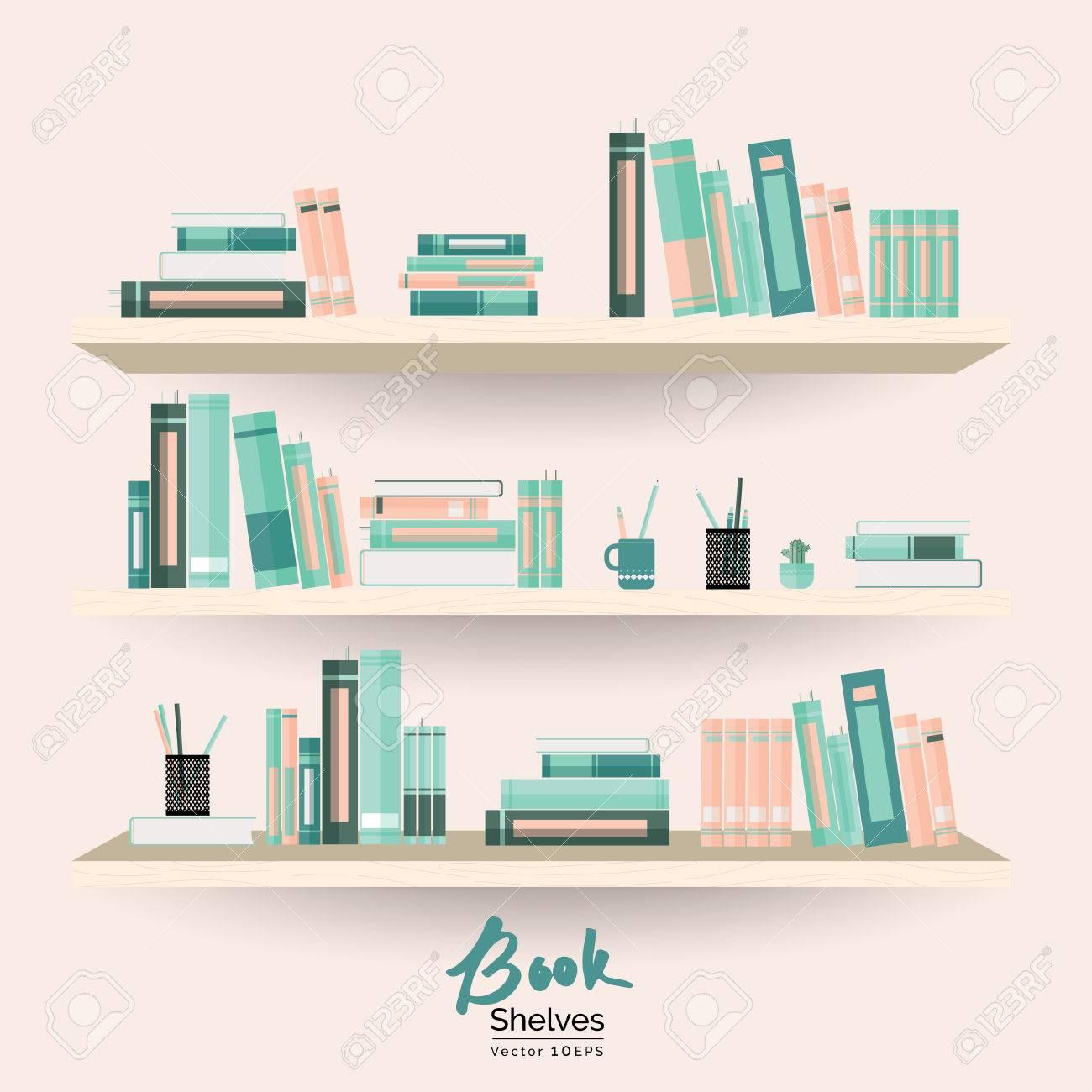 Bücherregale Mit Bücher Und Schreibwaren Auf Pastell Rosa Wand Hintergrund  Standard Bild   66464544