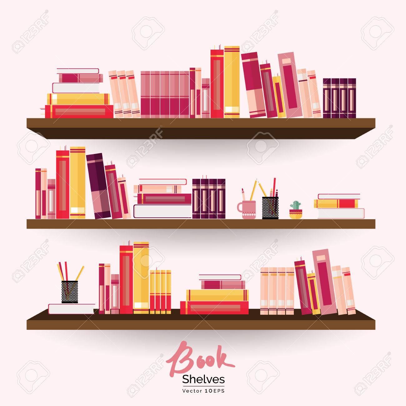 Bücherregale Mit Bunten Bücher Und Schreibwaren Auf Pastell Rosa Wand  Hintergrund Standard Bild   70814536