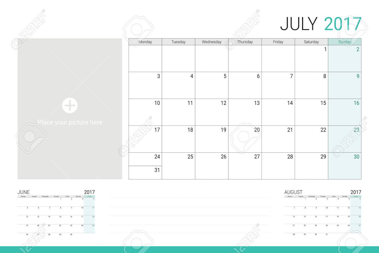 July 2017 calendar with space for picture and lines for taking