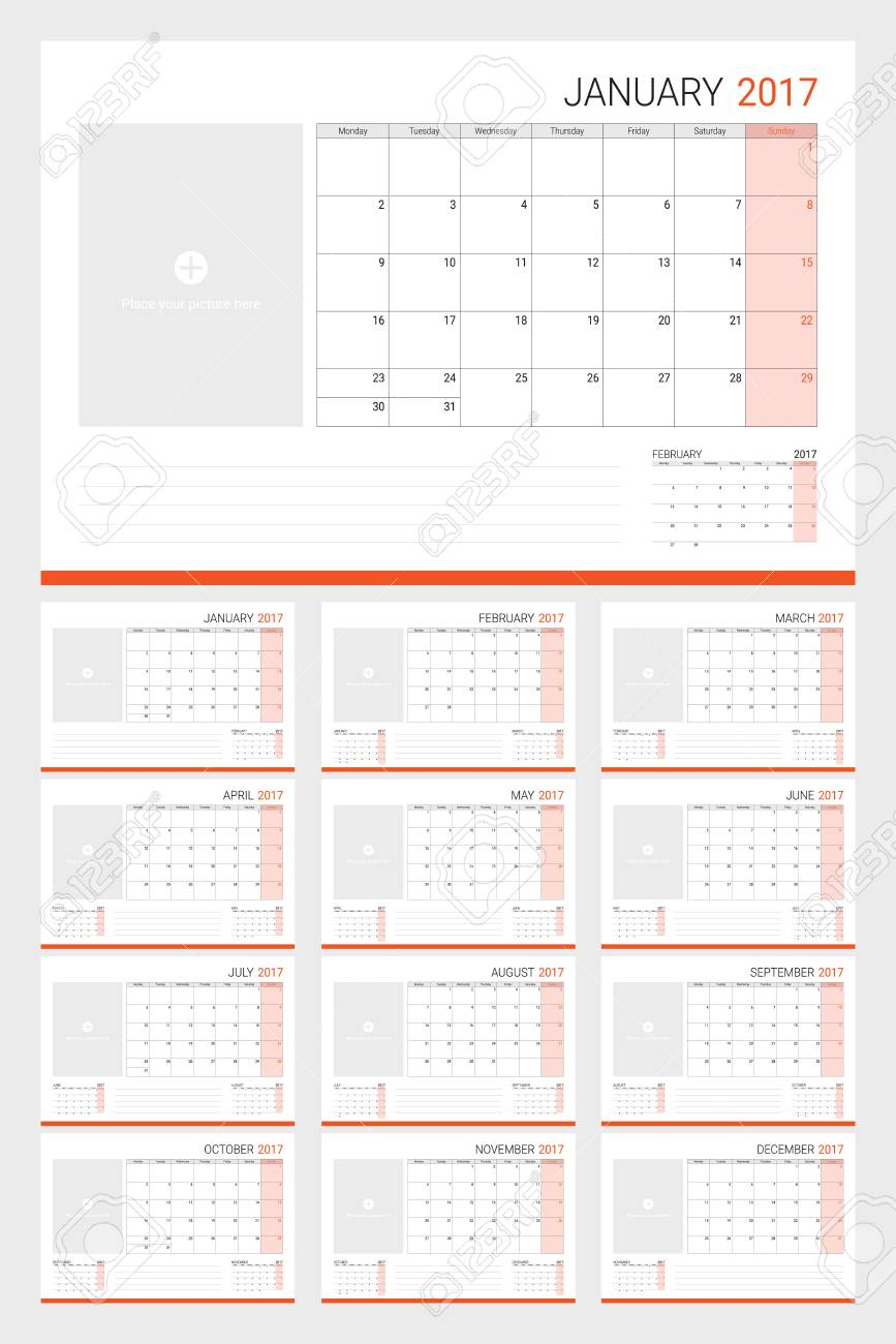 2017 calenders or desk planners with space for pictures and