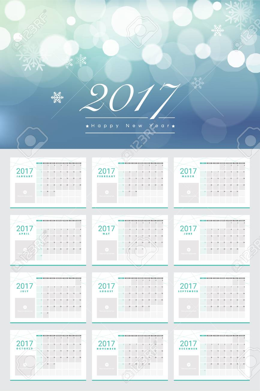 happy new year 2017 calendars 12 month set with space for adding pictures in each