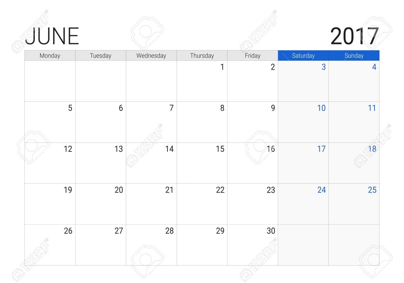 Calendario Di Giugno.Calendario Di Giugno 2017 O Desk Planner Le Settimane Iniziano Il Lunedi