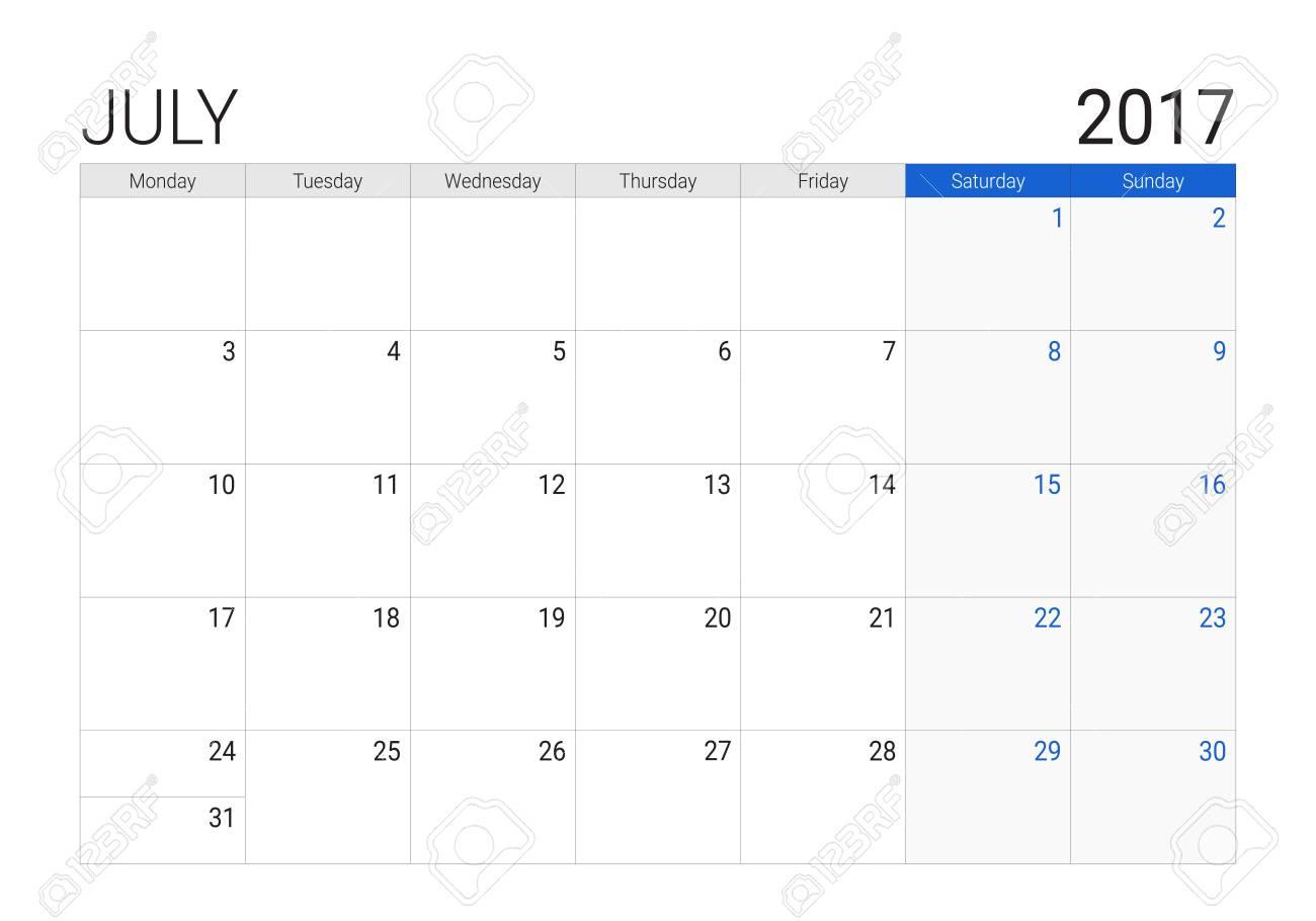 Calendario Di Luglio.Calendario Di Luglio 2017 O Desk Planner Le Settimane Iniziano Il Lunedi