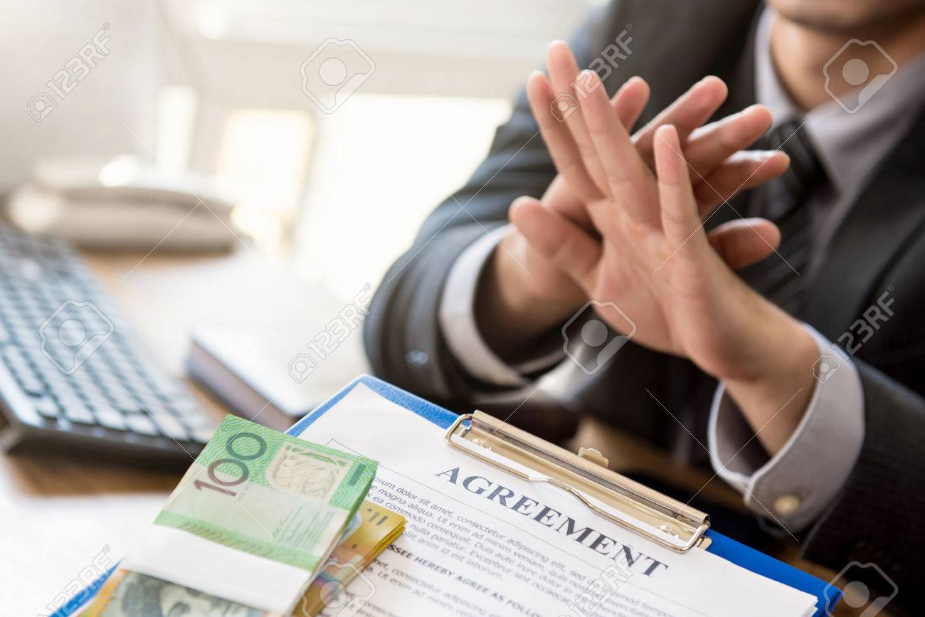 Businessman Refusing Money That Come With Agreement Paper Anti