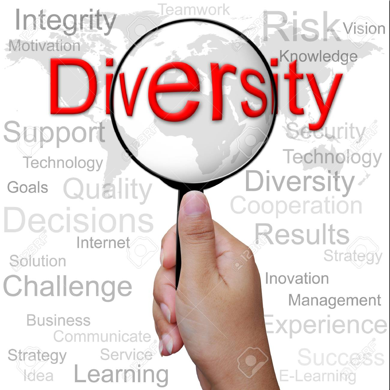 Diversity, word in Magnifying glass ,business background Stock Photo - 13309464