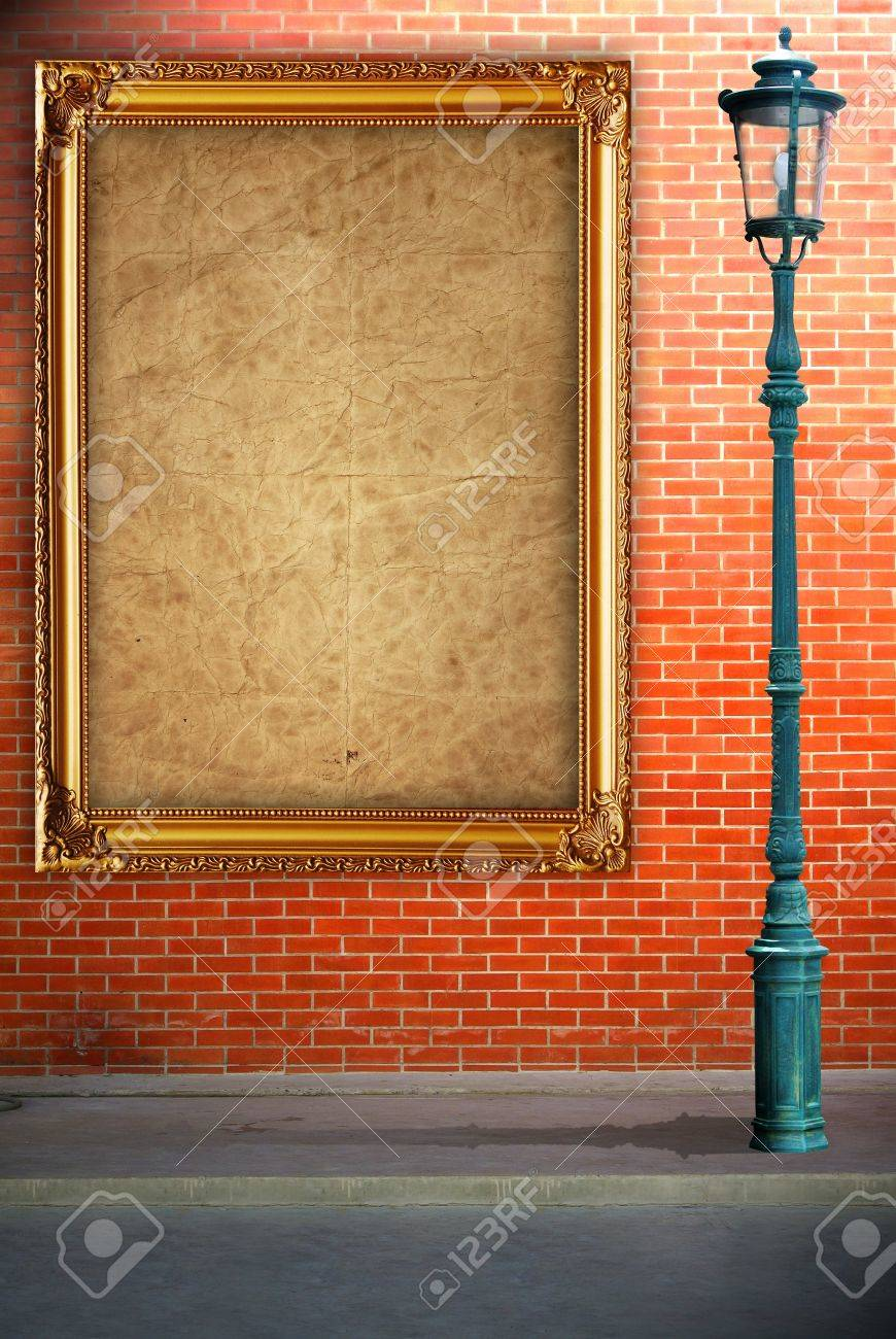 Lamp Post Street And Frame On Brick Wall Background Stock Photo ...