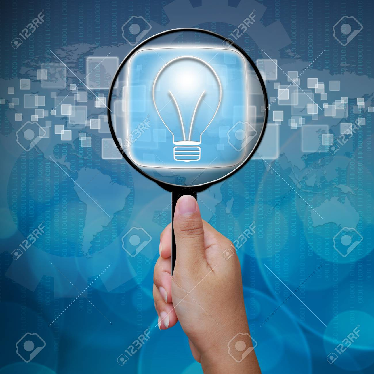 Bulbs button in Magnifying glass Stock Photo - 14957831