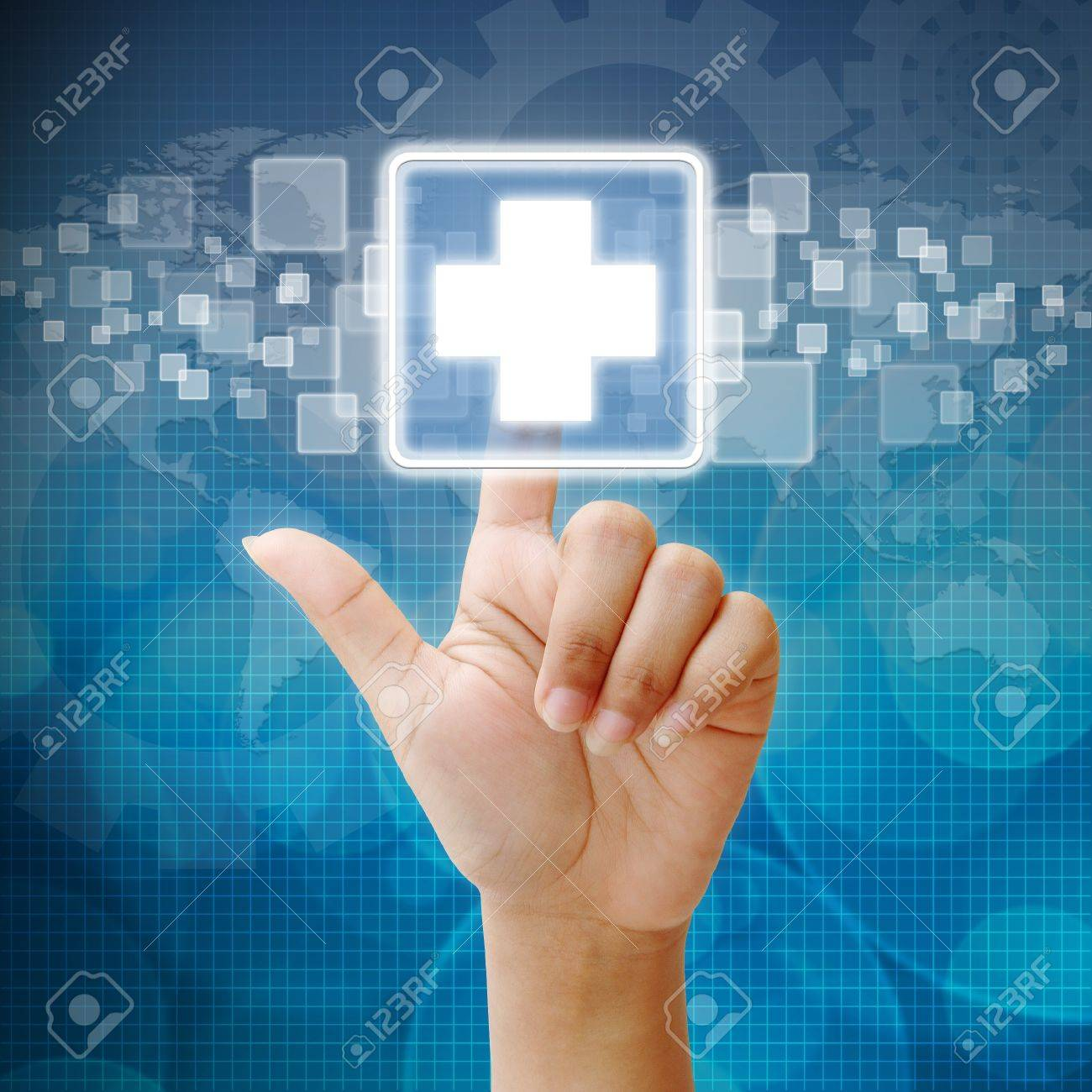 Presse la main sur l'icône de secourisme Banque d'images - 15052739