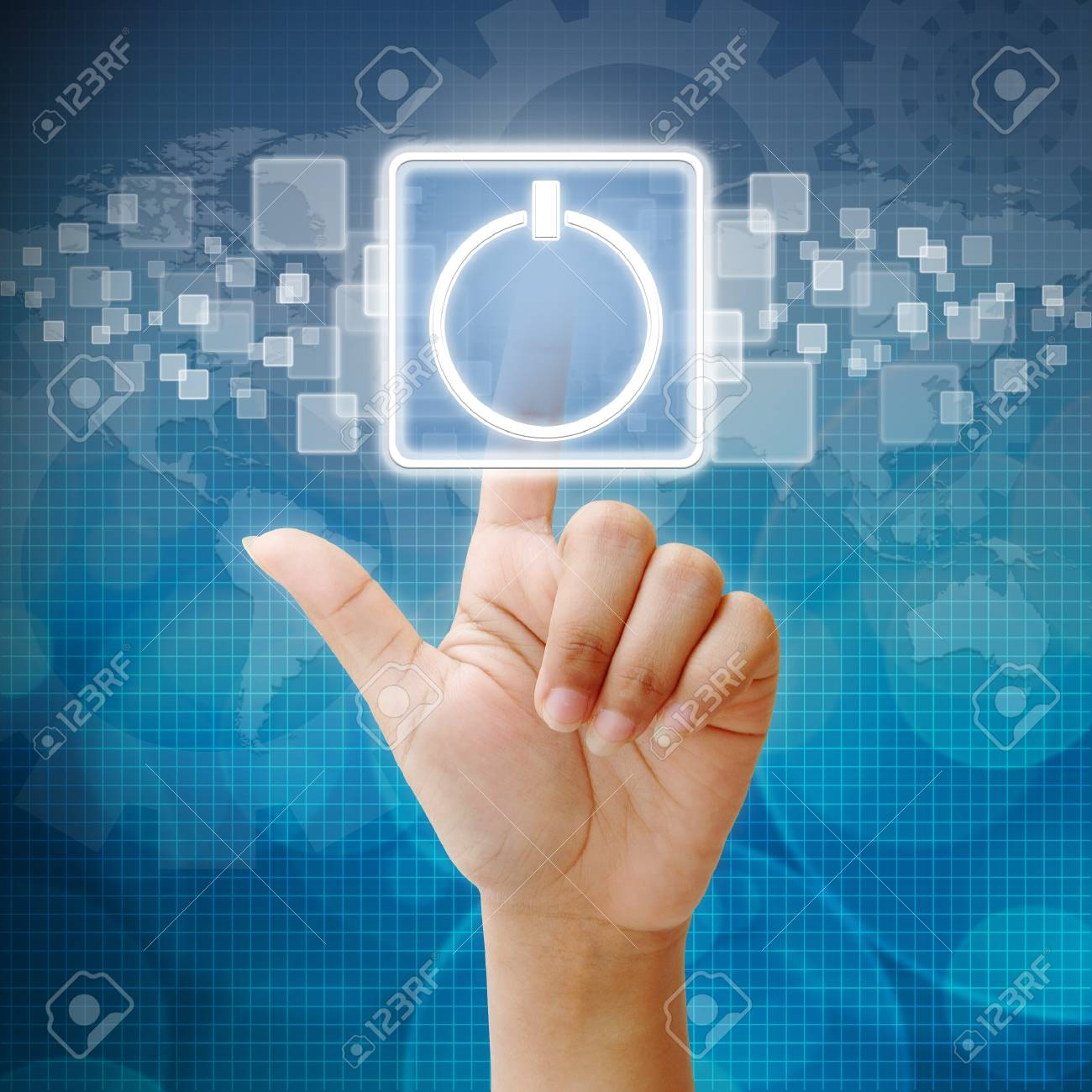 Hand press touch the Power icon Stock Photo - 15053192