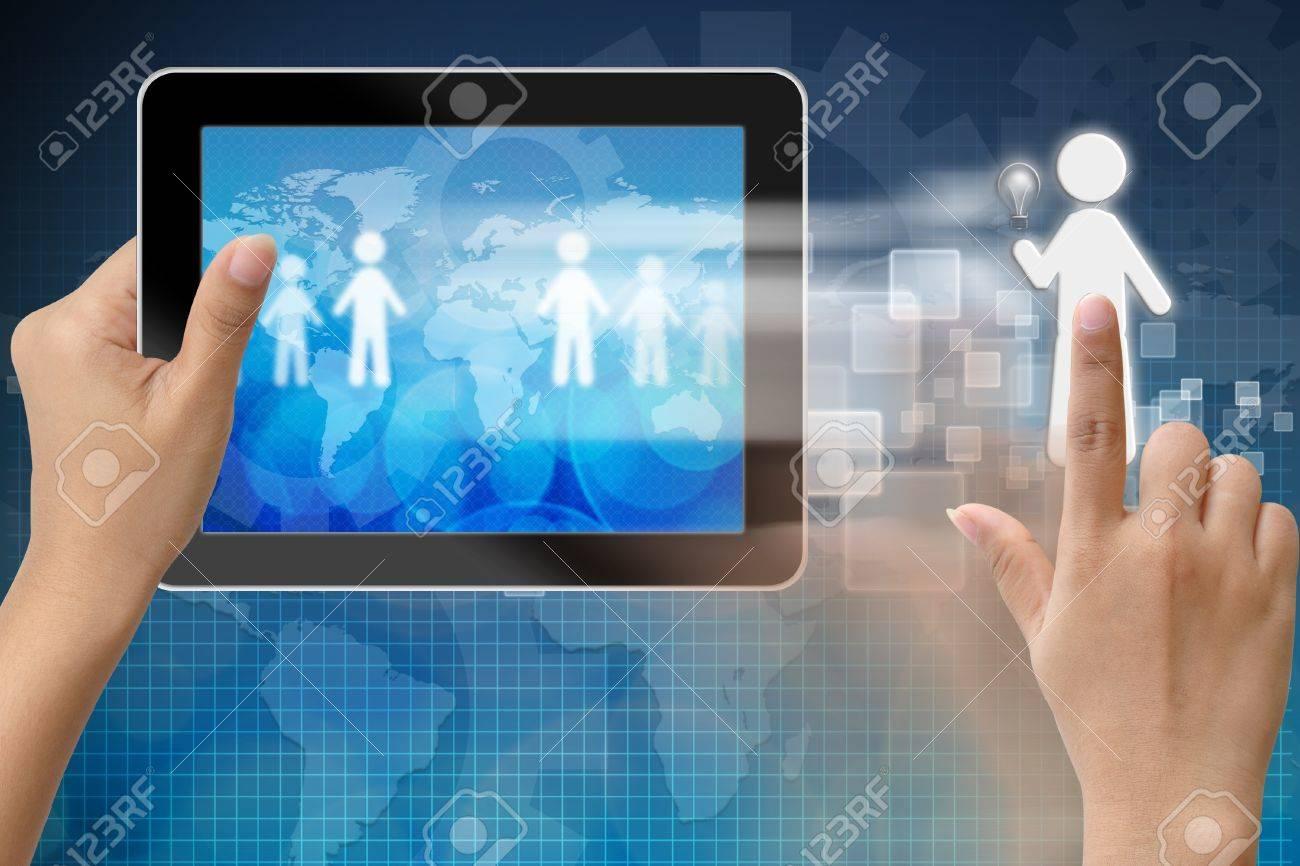 Le choix de la personne pour l'embauche de talents en Tablet PC Banque d'images - 15115163