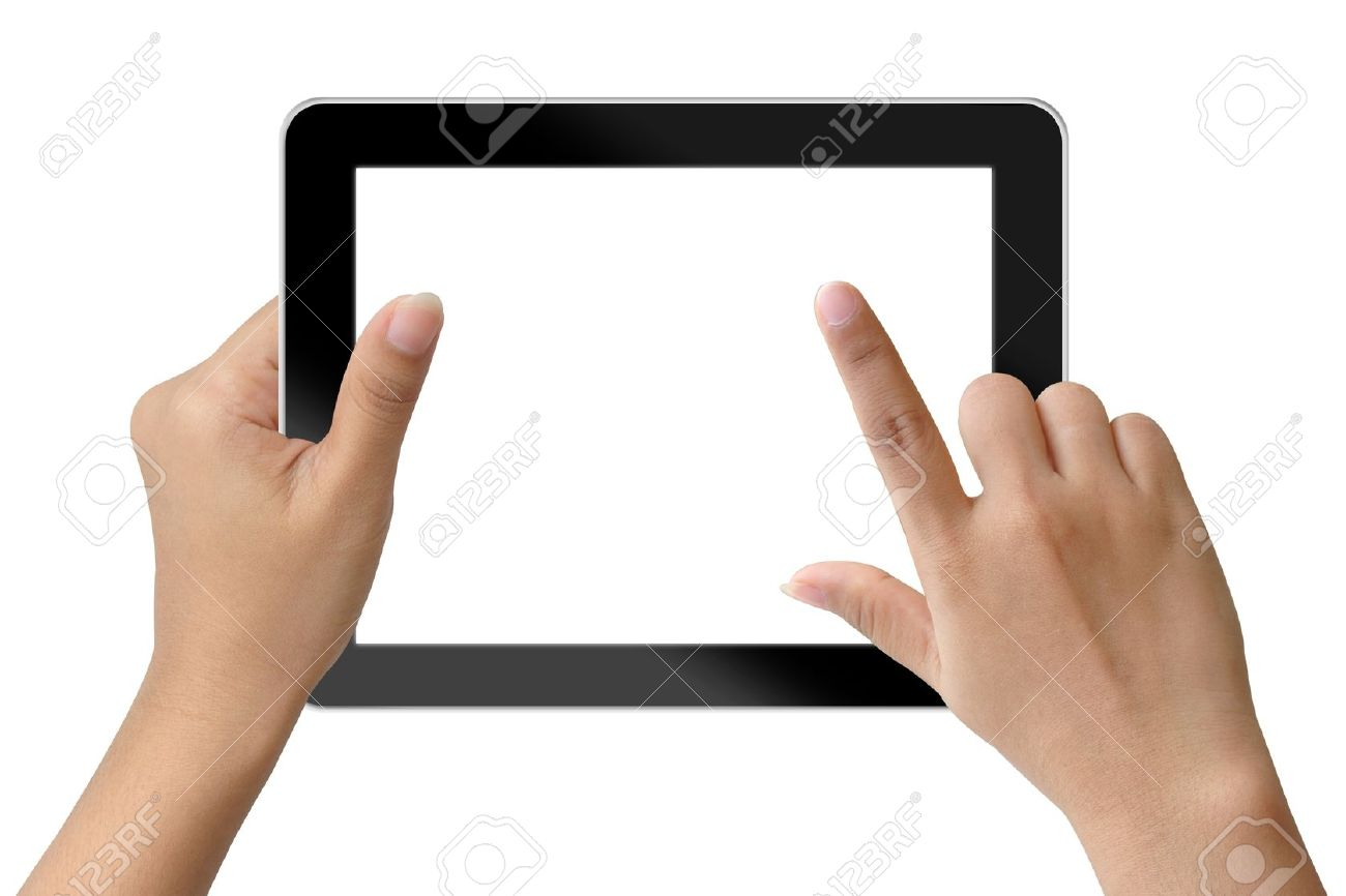 Hand woman holding and touching on tablet-pc Stock Photo - 15115161