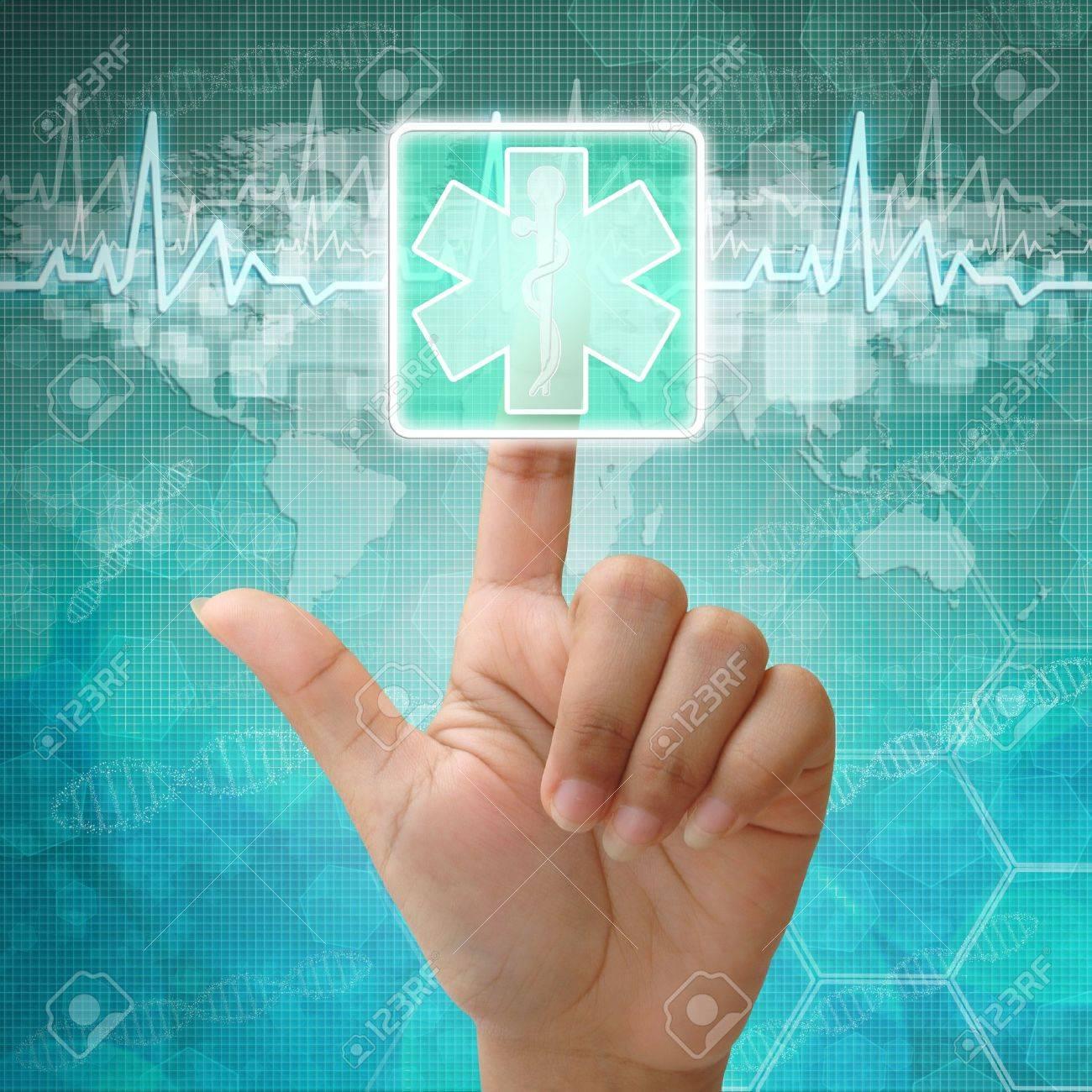 Presse la main sur le symbole médical, les antécédents médicaux Banque d'images - 15115132