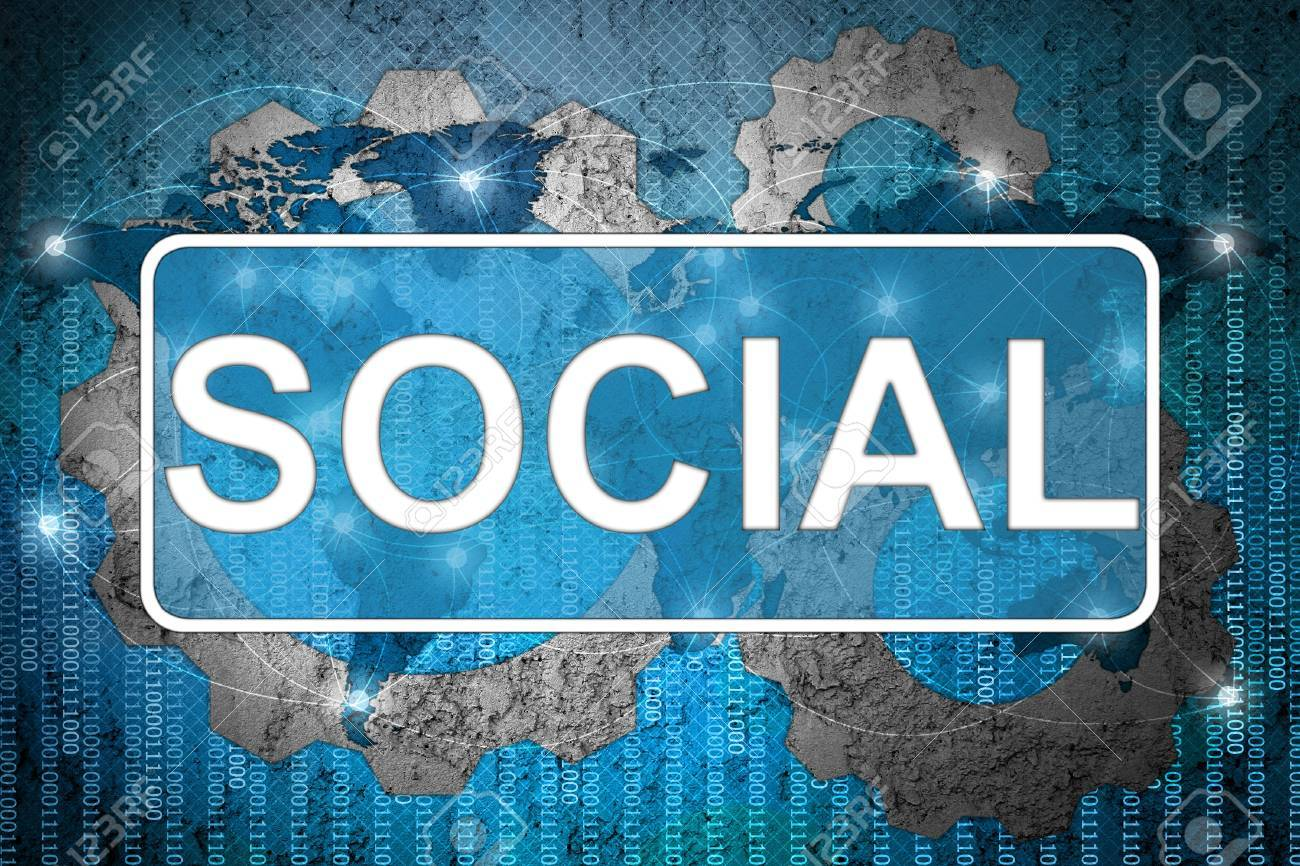 Word Socail on network background Stock Photo - 15542682
