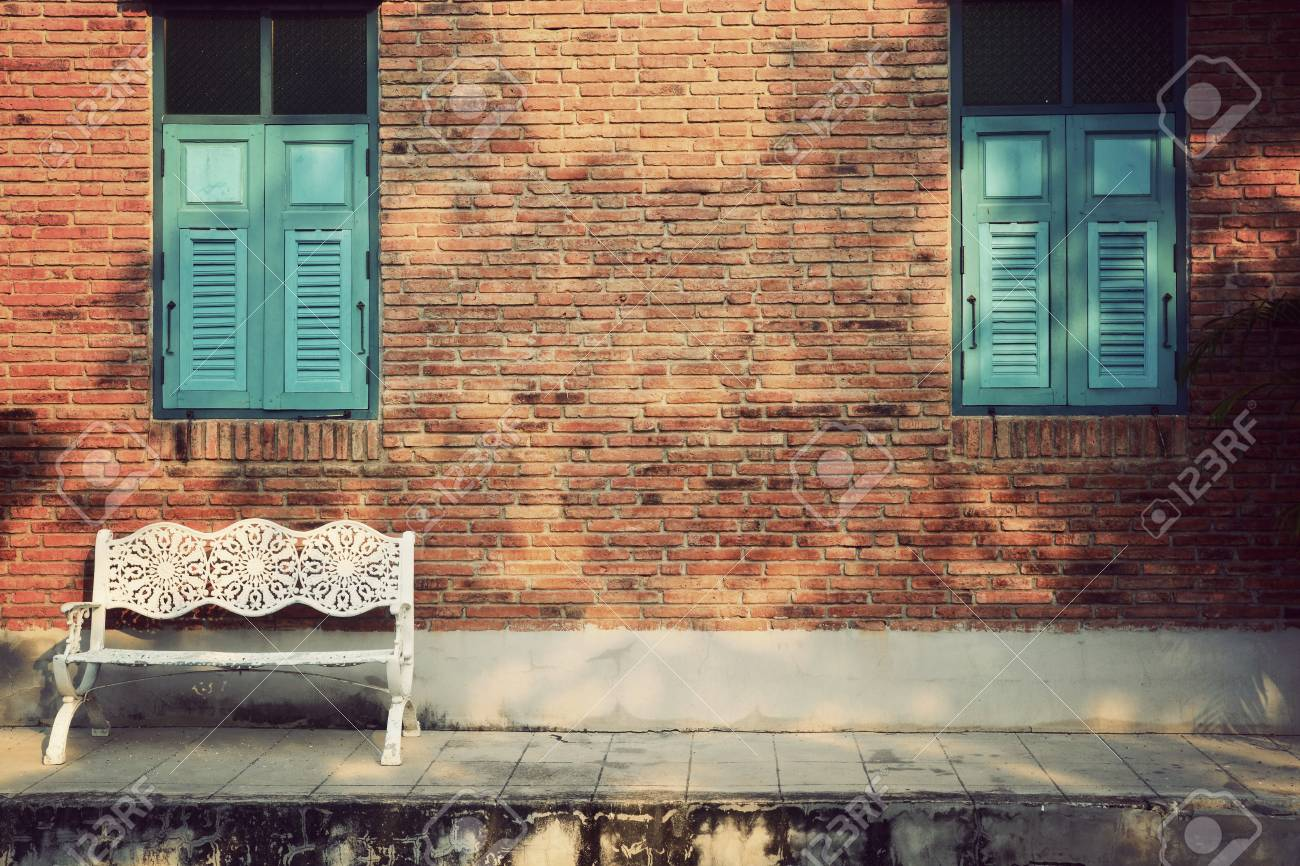 Miraculous White Wooden Chair With Vintage Red Brick Wall And Blue Window Pabps2019 Chair Design Images Pabps2019Com