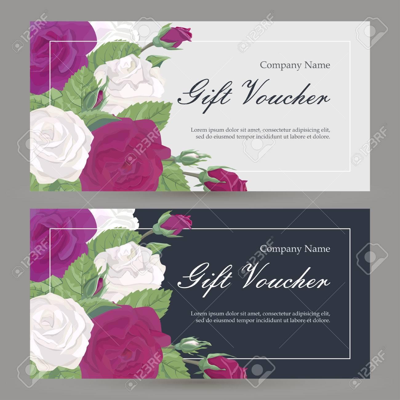 Vector Geschenkgutschein Blumenmuster Mit Blumen. Bordeaux Und Rote ...