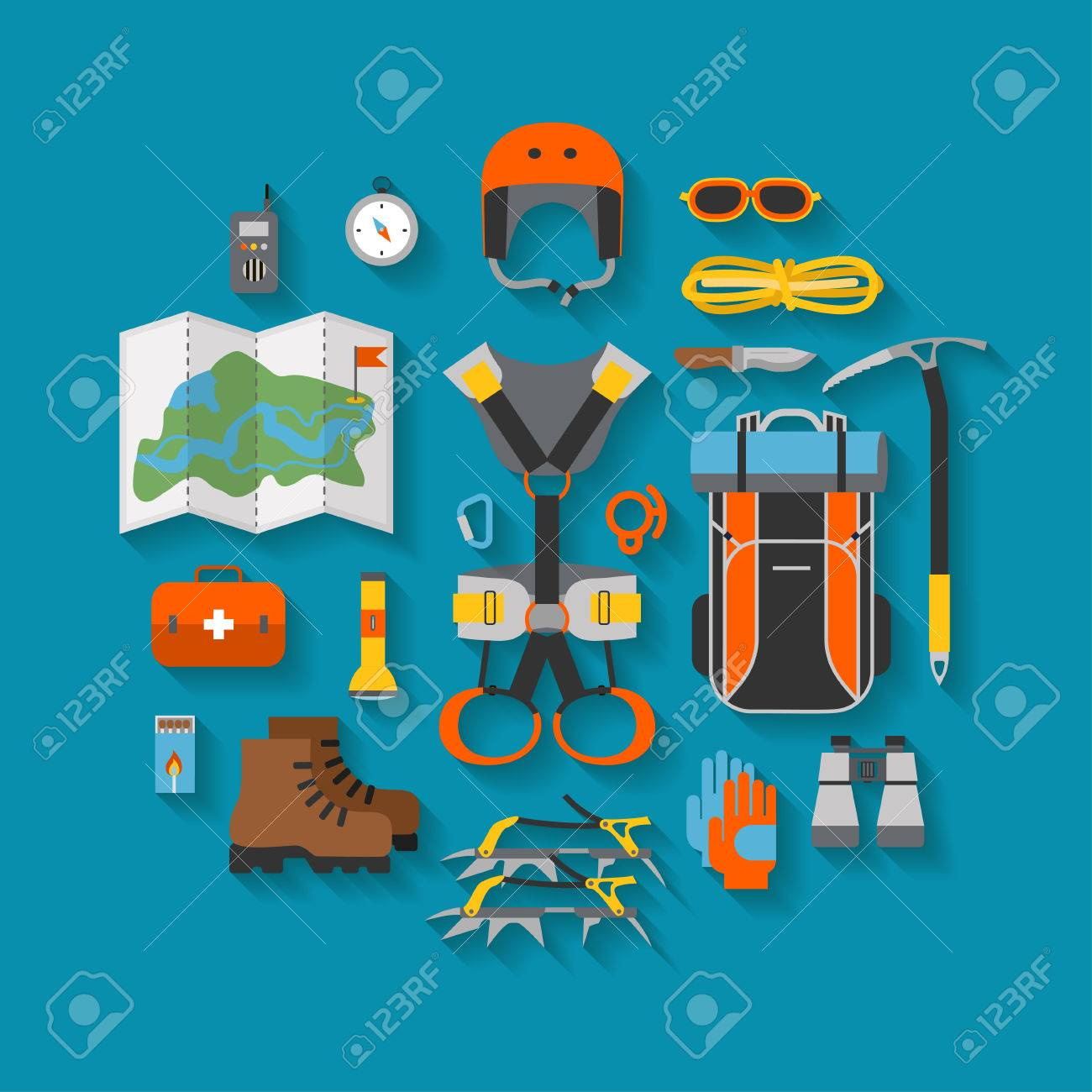 Flat design of modern of climbing and equipment for hiking with shadow. Outfit for mountaineering and items for traveling and recreation. For web sites, applications and printing. Vector illustration Stock Illustration - 83223151