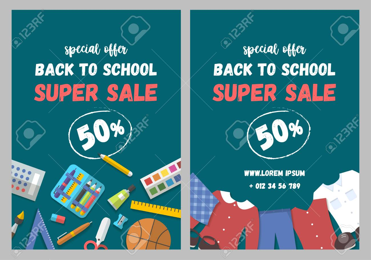 Back To School Flyer Template With School Supplies And School