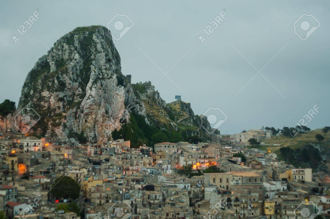 Mountain town - Caltabellotta  Sicily, Italy  at night Stock Photo - 21718012