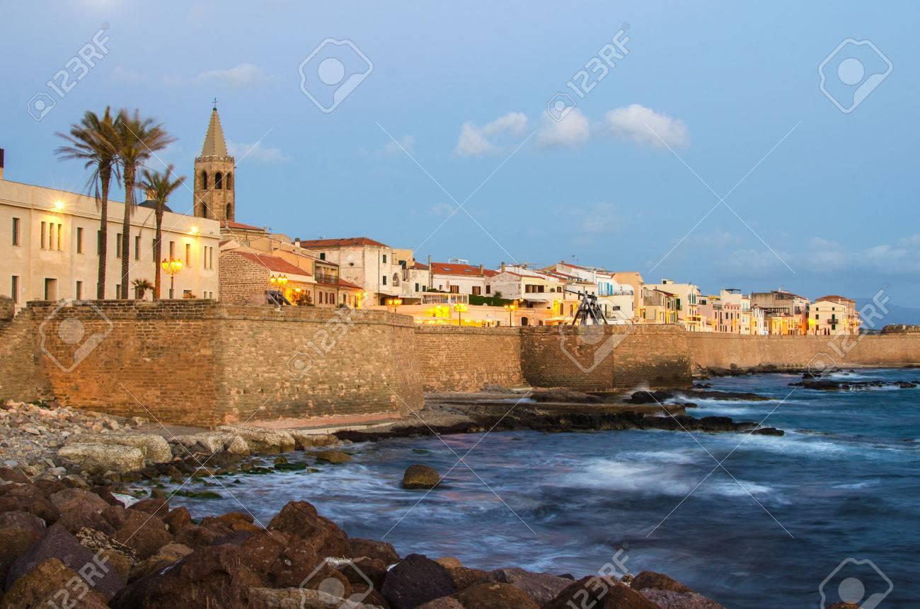 Alghero, Sardinia Island, Italy in the sunset Defensive wall - 28757427