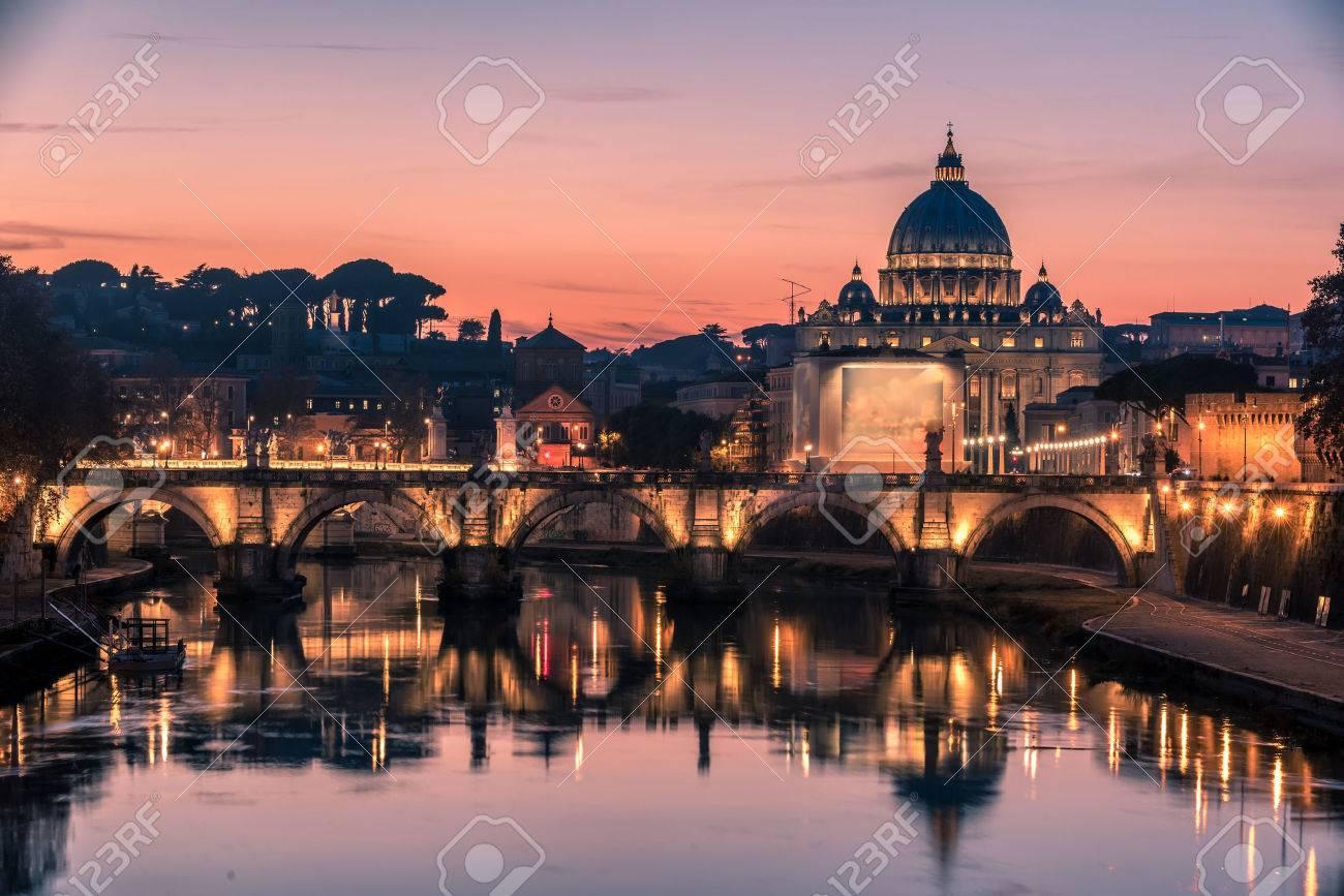 Rome, Italy: St. Peter's Basilica, Saint Angelo Bridge and Tiber River in the beautiful sunset of Italian winter - 50563309