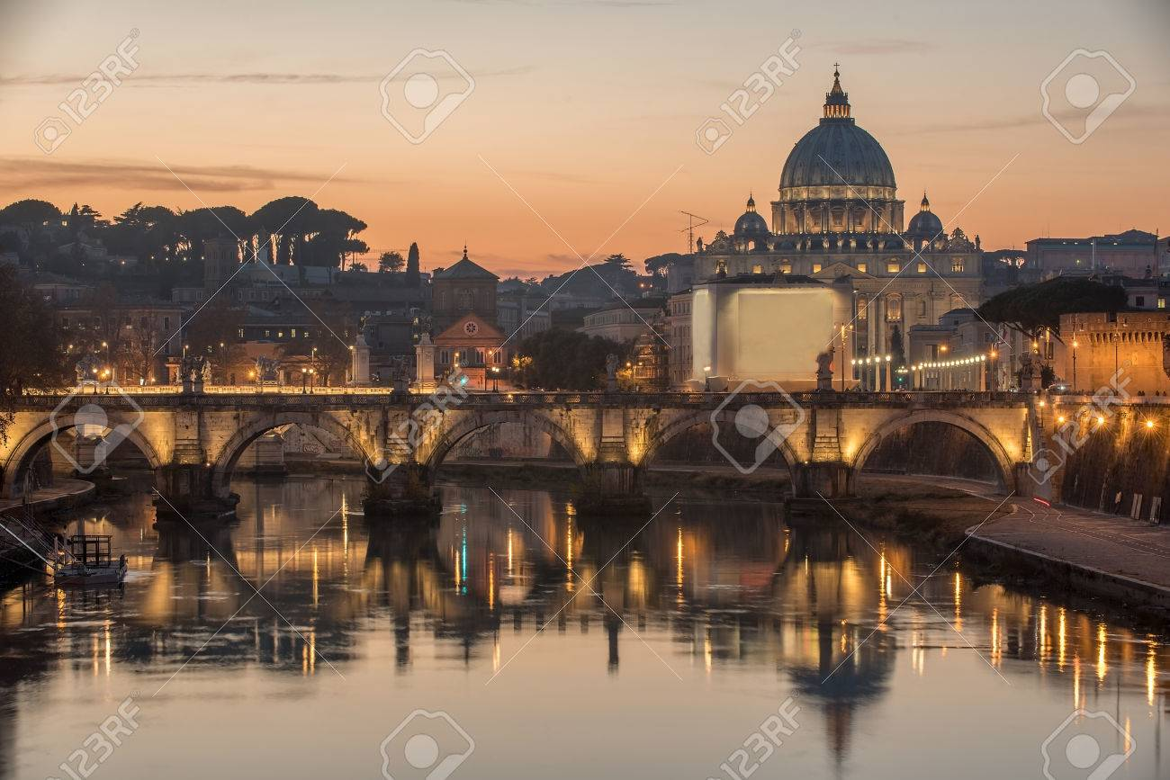 Rome, Italy: St. Peter's Basilica, Saint Angelo Bridge and Tiber River in the sunset - 51756146