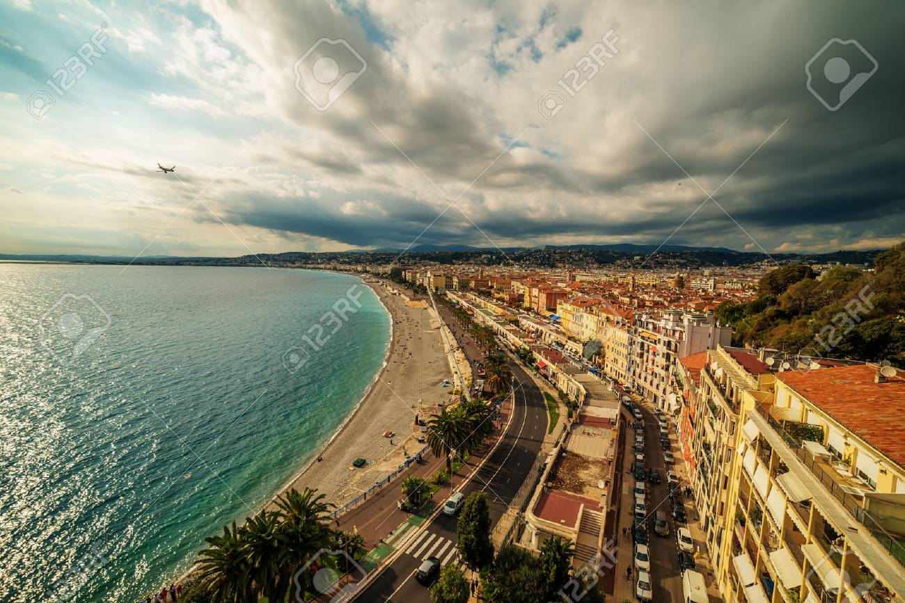 Nice, France: aerial panoramic top view of the old town and the Promenade des Anglais - 64779092