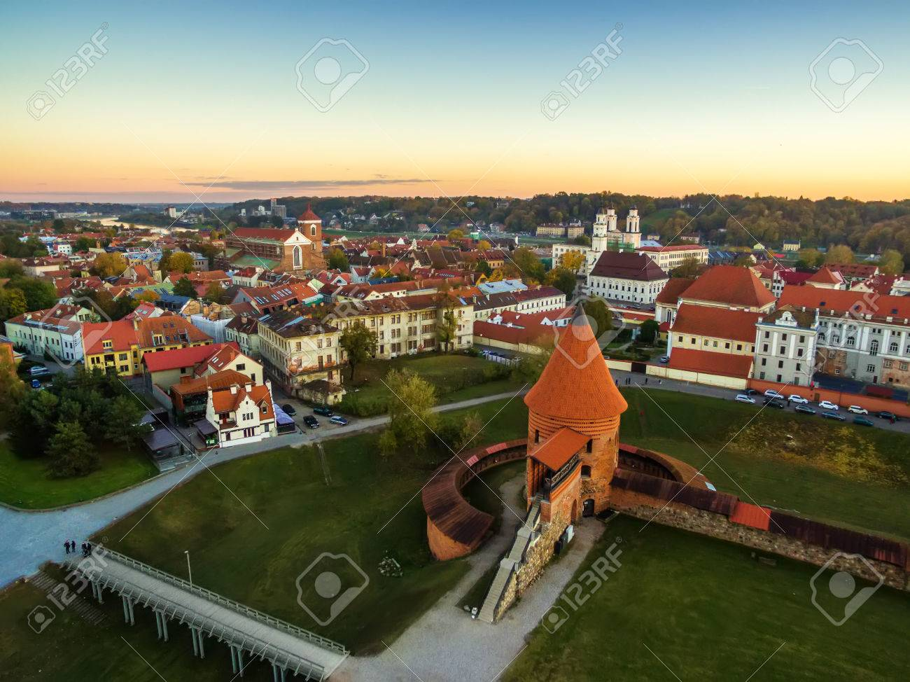 Kaunas, Lithuania: aerial top view of old town and castle in the autumn - 64783771