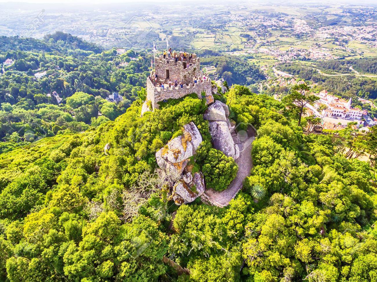 Sintra, Portugal: Aerial Top View Of The Castle Of The Moors ...