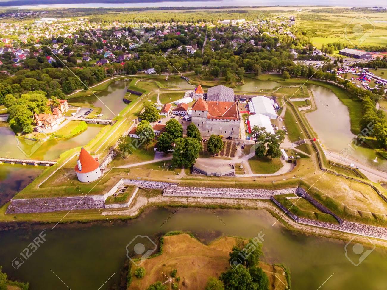 Saarema Island, Estonia: aerial top view of Kuressaare Episcopal Castle in the summer - 84562490