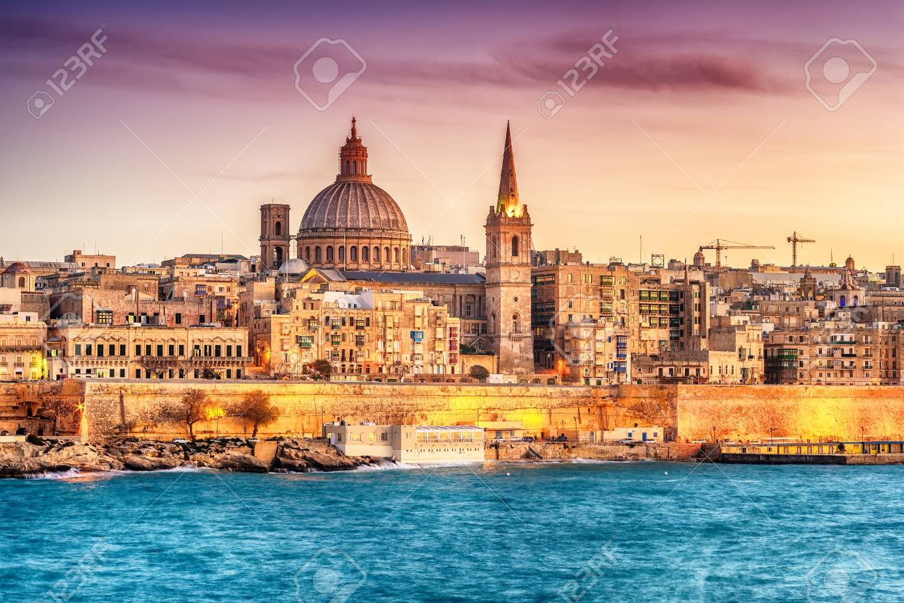 Valletta, Malta: skyline from Marsans Harbour at sunset. The cathedral - 92656718