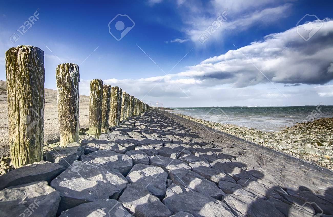 the north sea coast in zealand netherlands dutch landscape stock