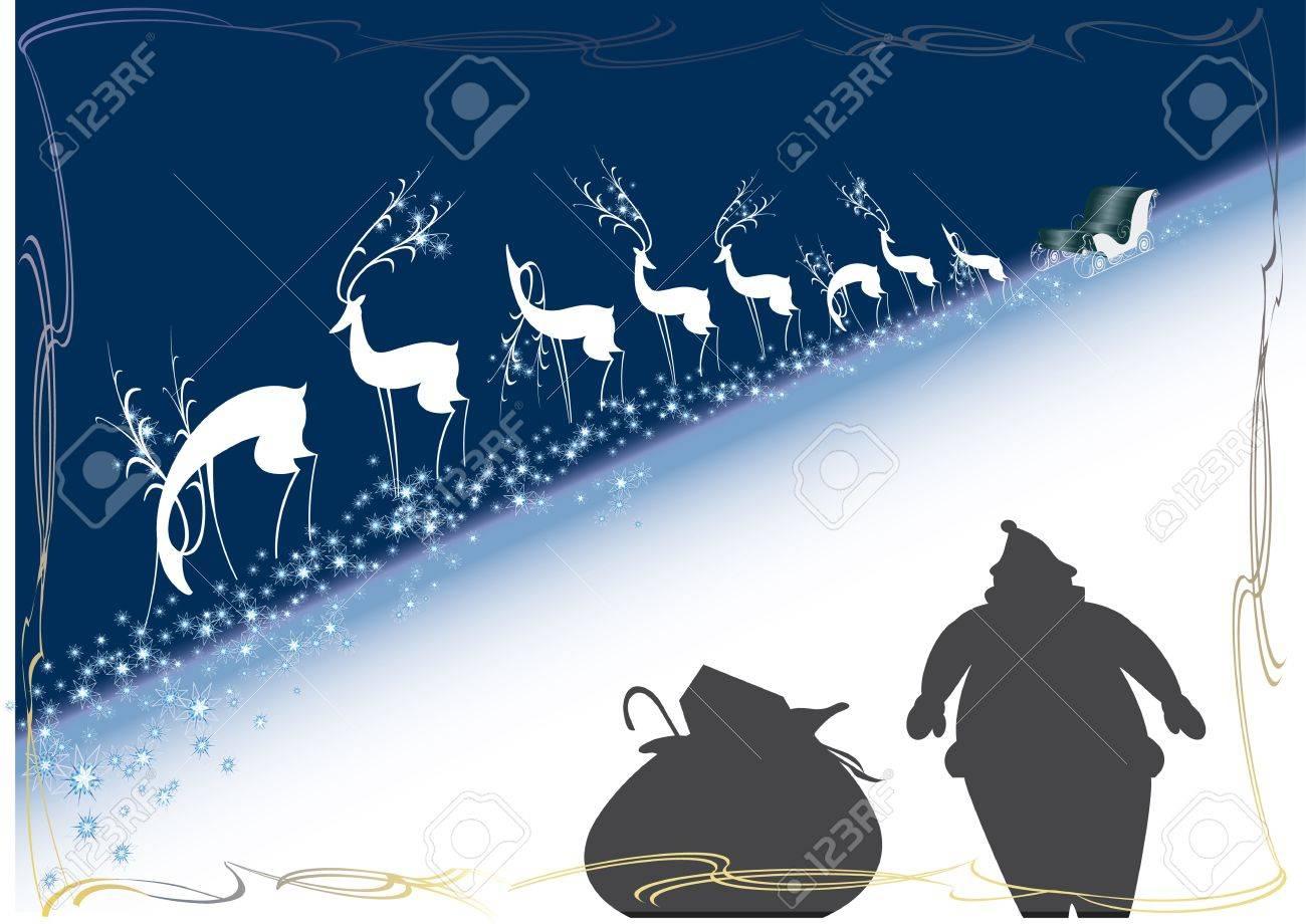 reindeer, sleigh, santa claus, christmas, new year Stock Vector - 11836209