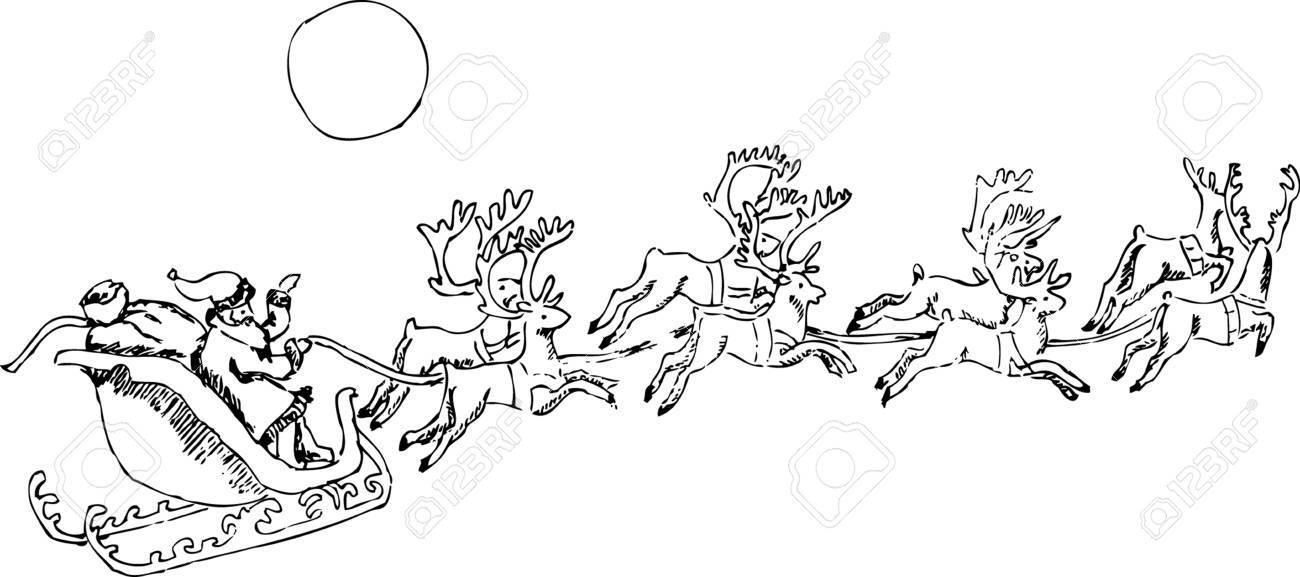 Père Noël Un Sac De Cadeaux Dans Un Traîneau Volant Dans Le Ciel Avec Des Rennes Dessin Au Crayon à La Main Image Vectorielle