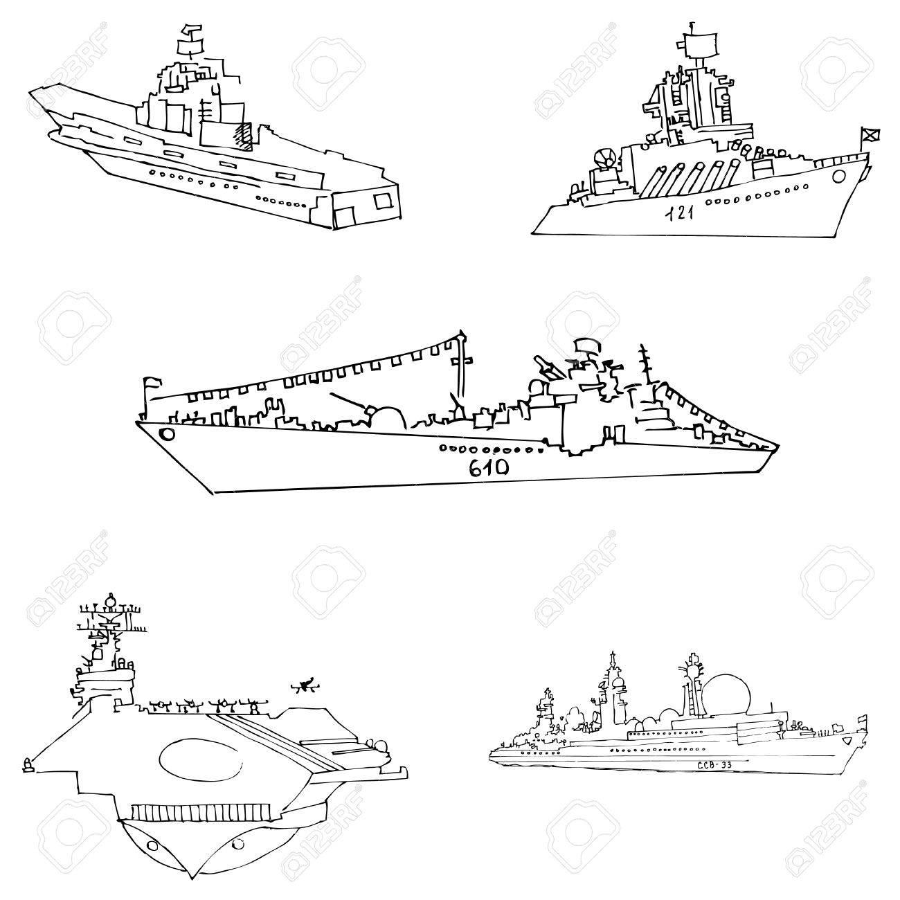 Segelschiff bleistiftzeichnung  Kriegsschiffe Skizze Von Hand. Bleistiftzeichnung Von Hand ...