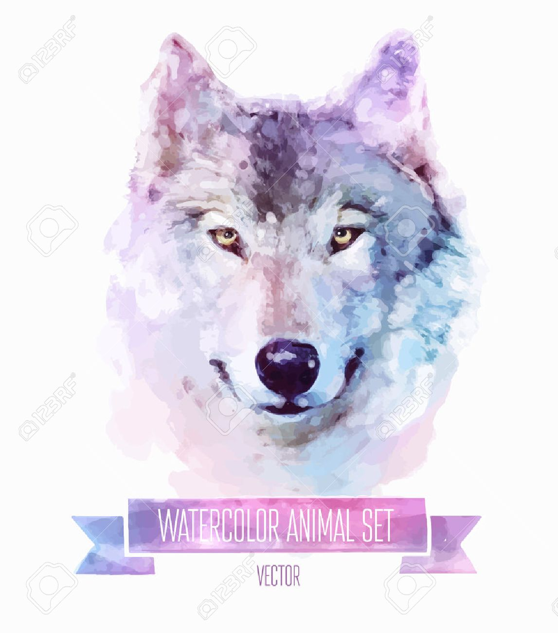 水彩イラストのベクトルを設定します かわいいオオカミのイラスト素材 ベクタ Image