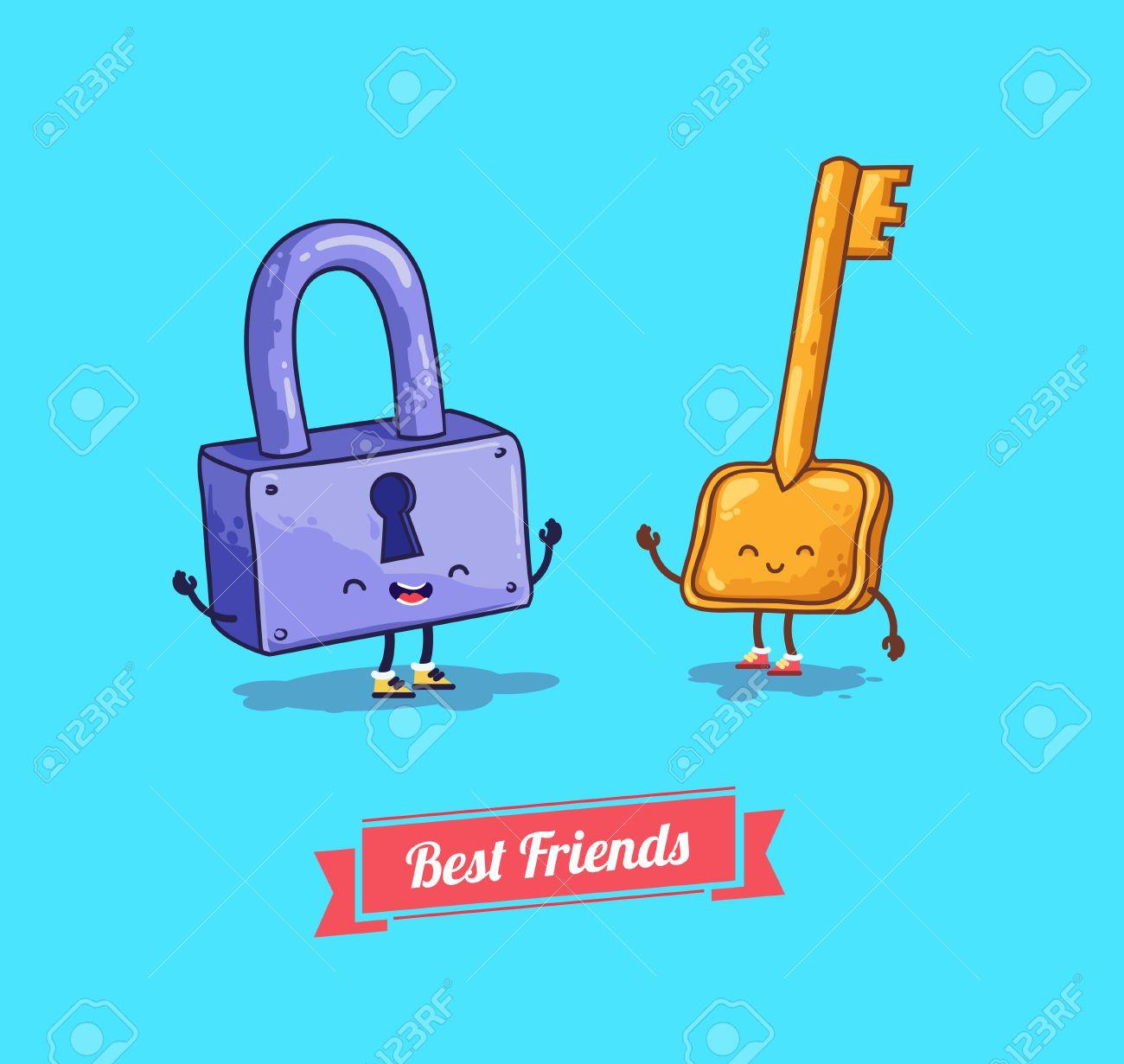 Vector De Dibujos Animados Protección Cerradura De Seguridad Con