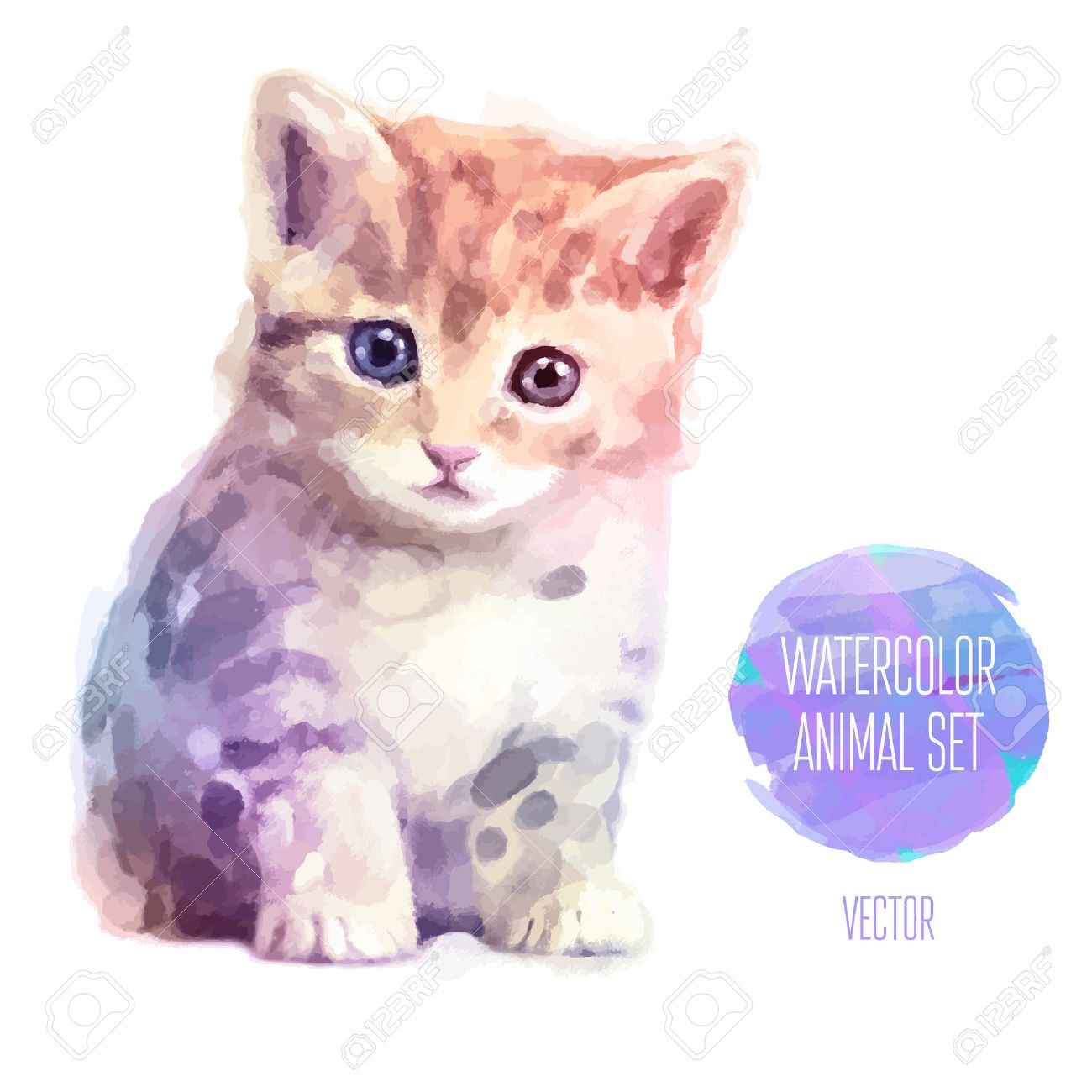 Vector set of watercolor illustrations. Cute cat Stock Vector - 40188225