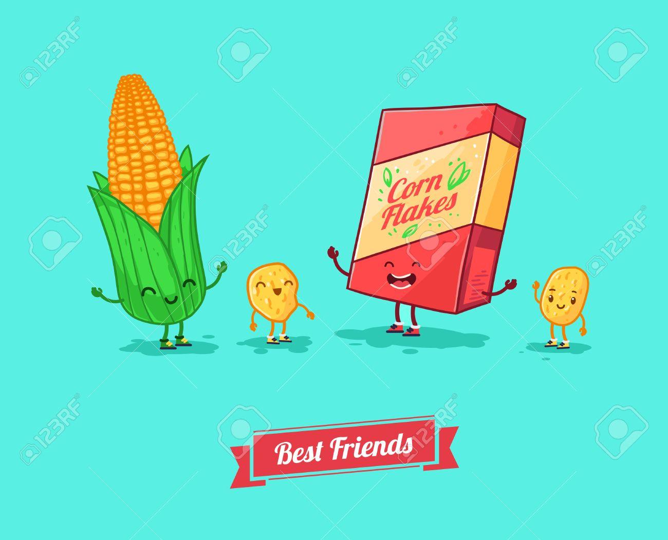 Vector De Dibujos Animados Divertido Cornflake Divertido Y Maíz