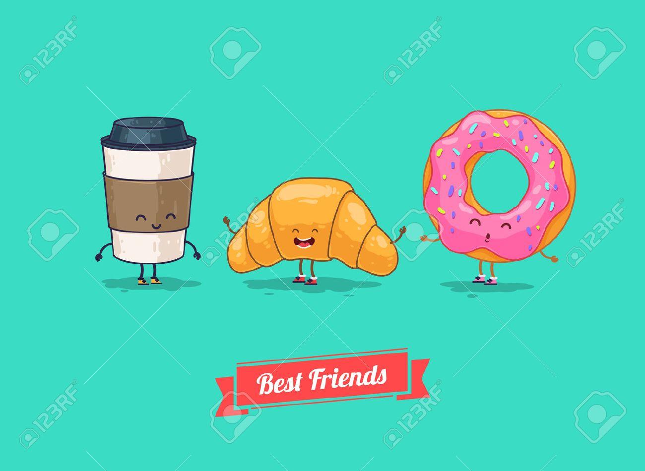 Vector De Dibujos Animados Divertido Café Divertido Croissants