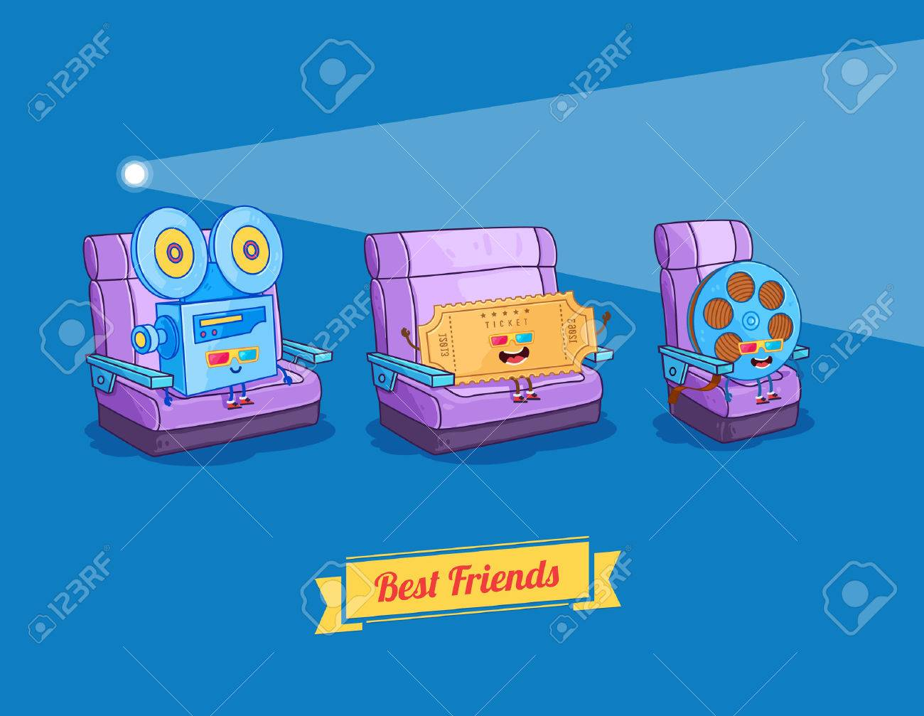 Vector funny cartoon. Funny camera, film and glasses. Best friends - 40229986