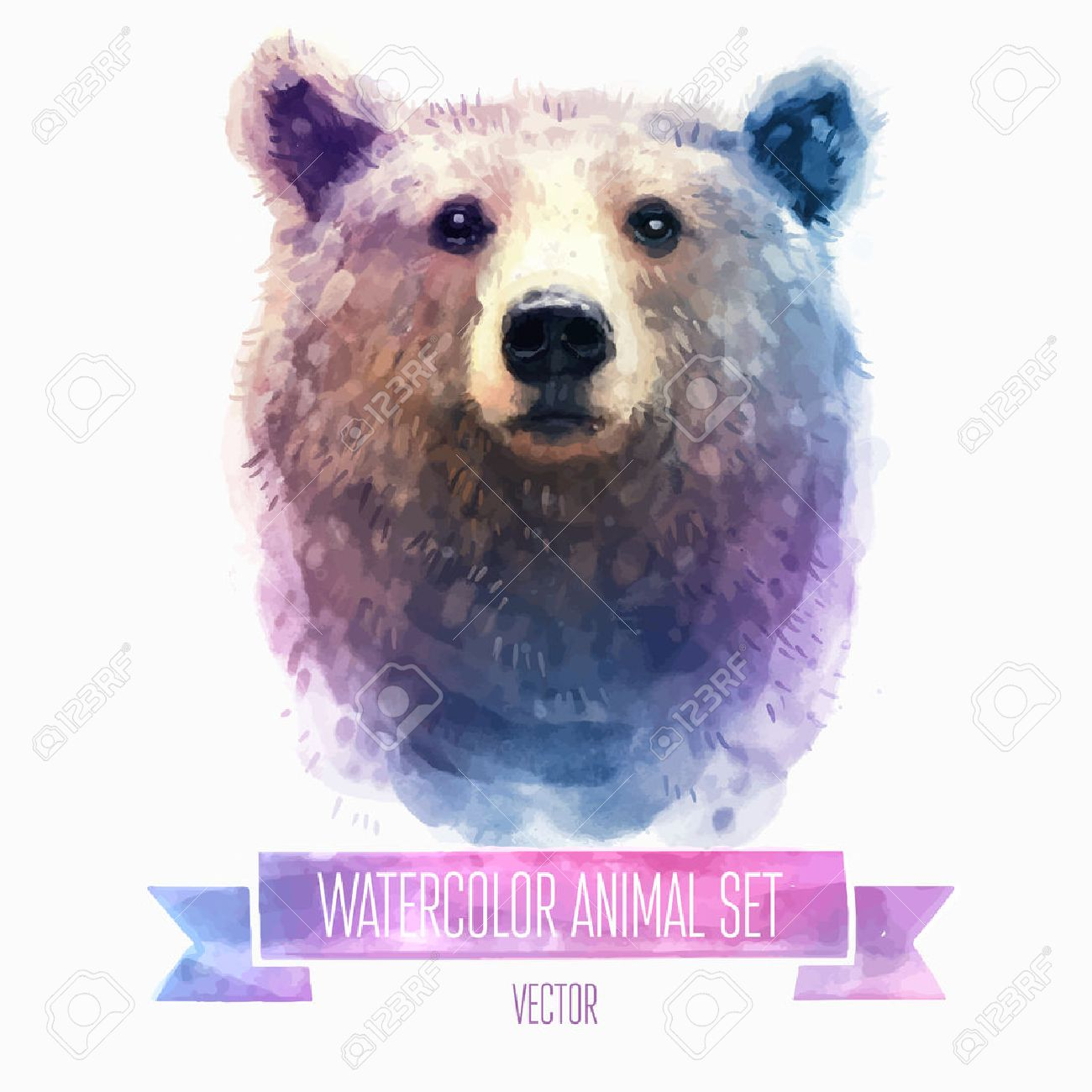 vector set of watercolor illustrations cute bear royalty free