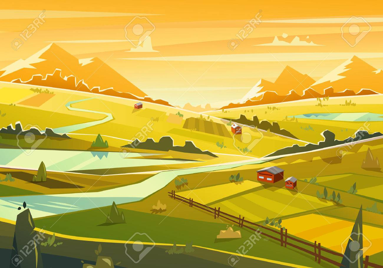 Rural landscape. Vector illustration. Stock Vector - 40947975