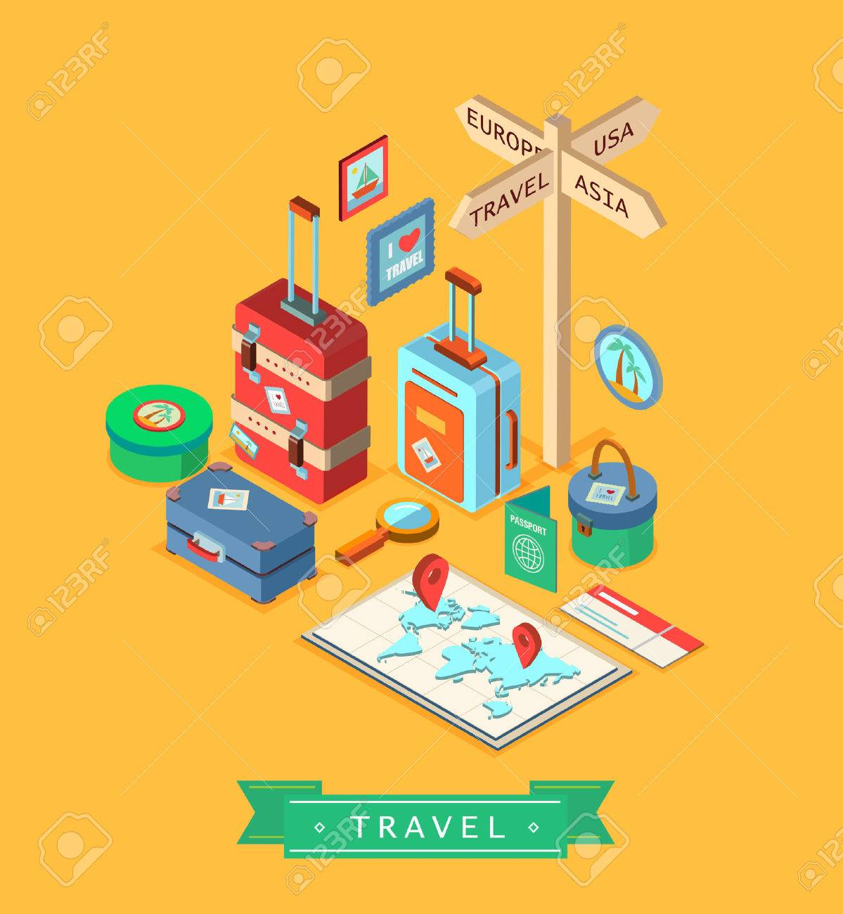Isometric summer creative design template. Set of traveling elements. - 41440896