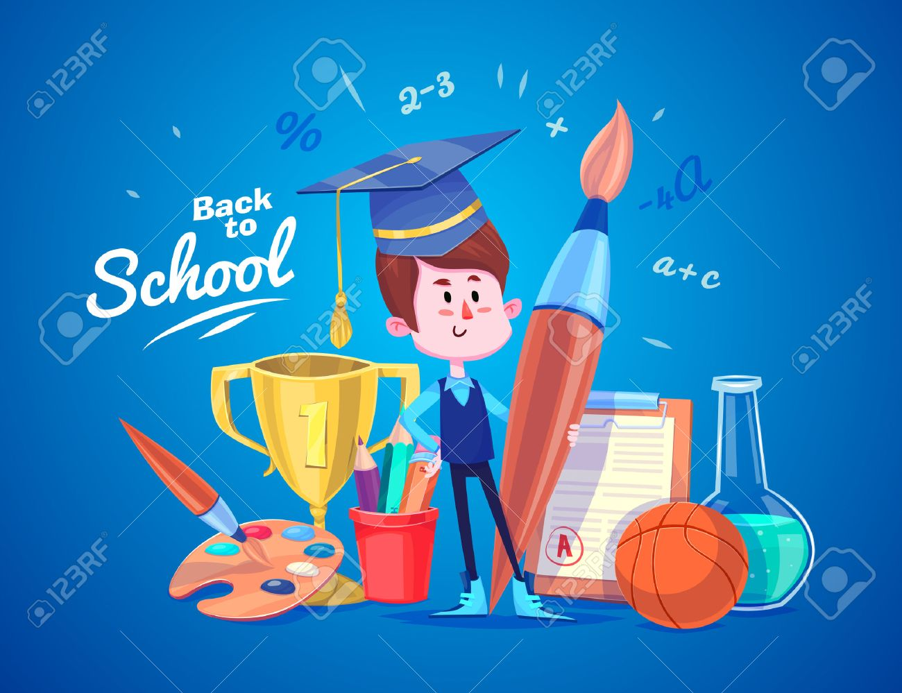 Cute School Children. School activities. Back to School isolated objects on blue background. Great illustration for a school books and more. - 43648408